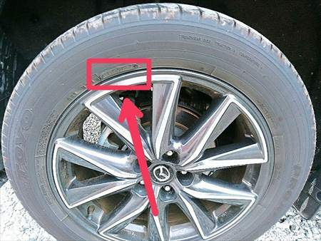タイヤのサイドウォールにある製造年週